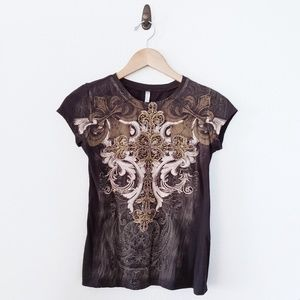 Crew Neck Cross Graphic Embellished Bling Tee